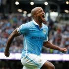 Vincent Kompany celebrates after scoring the second goal for Manchester City. Reuters / Andrew...