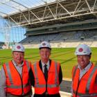 Visiting the Forsyth Barr Stadium yesterday were (from left) International Rugby Board vice...
