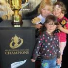 Visiting the Great Rugby Road Trip in Oamaru yesterday are (rear, from left)  Hana  and Zara...