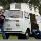 Volkswagen enthusiasts Martin van Raalte (67, left) and Ken Berry (72) in Dunedin yesterday....