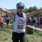 Tania Reid in transition at Little Valley on day one. Photo by Marjorie Cook.