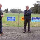 Waitaki Boys' High School farm committee chairman Graham Butler (left) and WaterForce irrigation...