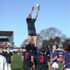 Waitaki Boys' High School lock Matt Bentley goes up for the ball in a lineout during annual...