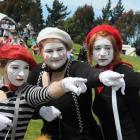 Waitaki Girls High School senior drama group members Rebekah Bisson (16), left, Susanna Elliffe ...