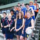 Wakatipu High School sports stars (front, from left) hockey player Jack Gilbert (16), hockey...