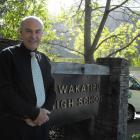 Wakatipu High School stand-in principal Paul O'Connor stands outside the school's office area....