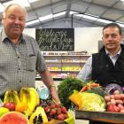 Wal's Vege Land and More owner Clive Wallis (left) and  store  manager Mike Roberts display some...