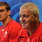 Wales coach Warren Gatland (R) and captain Sam Warburton at a press conference in Wellington....
