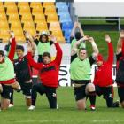 Wales players warm up during a training session in Auckand. Photo by Reuters.