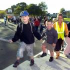 Jack Padhaczky and Ben Anderson from College St school join in the Walk 'n' Wheel event. Photo by...