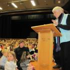 Wanaka Primary School founding principal Moira Fleming, now retired, engages with pupils at...