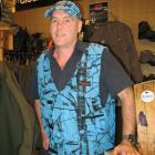Wanaka retailer Mark Sanders models his 'blaze blue' hunting range in his shop on Thursday. Photo...