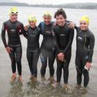 Wanaka swim coach Fi Hezinger (centre) with (from left) young swimmers Janus (12) and Julius (10)...