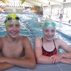 Wanaka swimmers Tane Duncan (16) and Kenzie Findlay (13) at their club training camp at the...