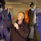 Wapiti hunter Brent Fokkens, of Dunedin, hangs his gear out to dry after nine wet days during a...