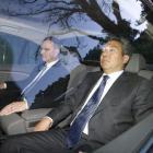 Warners Home entertainment group president Kevin Tsujihara (nearest camera) leaves Premier House...