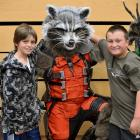 Warren Goodwin as Rocket, from Guardians of the Galaxy , with Rohan Anakin (10, left) and Zed...