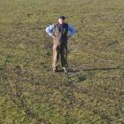 Warrington resident Alistair Wright stands by the tyre marks left on Warrington domain by boy...
