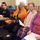 Warrington residents (front row, from right) Janine Cunningham, her daughter, Grace-Valentina...