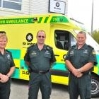 Wearing their new uniforms are (from left) St John ambulance  emergency medical technician...