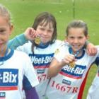 From left, Jemma Dixon (10), Mikayla Hayward (10), Natasha Mitchell (10) and Kasey Scott (10), of Elm Grove School, in Mosgiel in the Weetbix kids competition on Sunday. Photo by Peter McIntosh.