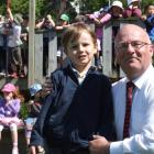 Welcome aboard: George St Normal School principal Rod Galloway with the school's most recent new...