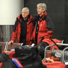 Welsh rugby supporters Peter Hammett (left) and Gerwyn Williams wait for a bus to Christchurch at...