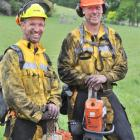 Wenita Forestry contractors Jared Laing (left) and Ken McHoull are covered in soot and dust after...