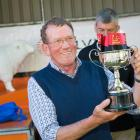 West Melton hobby farmer Mike Ryan celebrates his success in winning last year's Canterbury A&P...