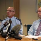 Western Bay of Plenty police commander Inspector Mike Clement (left) and Te Puke High School...