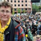Weta Workshops boss Sir Richard Taylor in front of the rally in Civic Square in support of making...