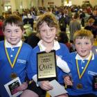 William Brundell (10), Archie Buissink (10) and Asher Quin (9), of Rotary Park School, after they...