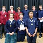 Winners of the 2013 years nine and 10 Extra!  current events quiz (back, from left): the second...