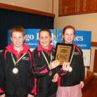 Winners of the years 5 and 6 Otago Daily Times social studies quiz in Timaru yesterday are (from...