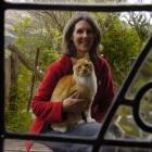 White witch Philippa Jamieson with her cat familiar, Gobi. Photo by Jane Dawber.
