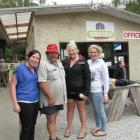 With camp manager Mike King at the Lake Hawea Holiday Park are (from left) Annie Dickie (21),...