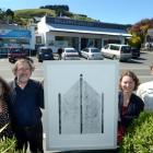 With collagraph Monterey Church - In the Pines, In the Pines  outside Bellamys Gallery (from left...