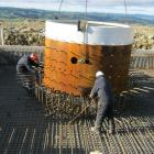 Work on the Mt Stuart wind farm near Milton is continuing with a foundation being prepared as a...