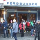 Work to widen the footpath on Shotover St outside Queenstown burger shop Fergburger will start...
