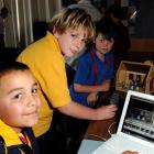 Working on their stop-motion animation creation at the Kids@Conference in Dunedin yesterday are ...