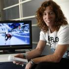 World champion snowboarder Shaun White, of the United States, shows off his snowboarding game for...