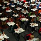 Year 11 St Hilda's Collegiate School pupils sit their NCEA english examination in 2002. Photo by...
