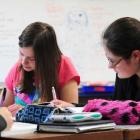 Year 13 pupils at Kaikorai Valley College Melissa Good (left) and Jamie Anderson (both 17) work...