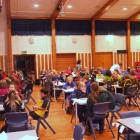 Year 5 and 6 contestants get ready for the next round in the Extra! quiz at Timaru Boys High...