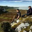 Yellow-eyed Penguin Trust ranger Leith Thomson (left) and field officer David McFarlane take in...