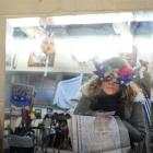 Young mask-maker Madeleine Harrop (9), of Kurow, views her reflection at the Grainstore Gallery...