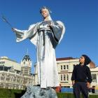 Zacharie Santana (3), of Dunedin, admires angel Natapiya Dryshchuk, of Christchurch, at the ...