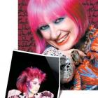 Zandra Rhodes today and  in a 1985 portrait by Robyn Beeche.