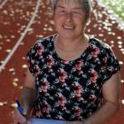 Athletics Otago administration officer Margaret Knox at the Caledonian Ground yesterday. Photo by...