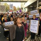 Dunedin South MP Clare Curran speaks at the protest outside Dunedin Hospital. Photo: Craig Baxter